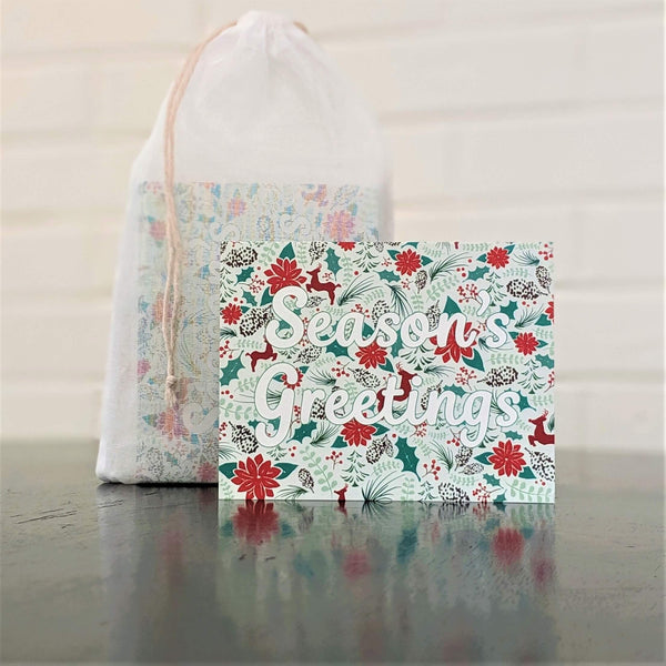 Season's Greetings Holiday Card stationery, set of 6 with 100% cotton pouch