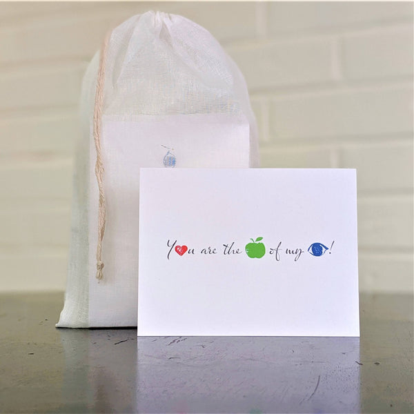 """You are the apple of my eye"" greeting card, single card in front of set in sheer cotton pouch"