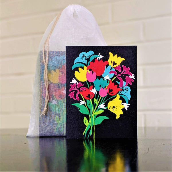Bouquet of Flowers greeting card, single card in front of set in sheer cotton pouch