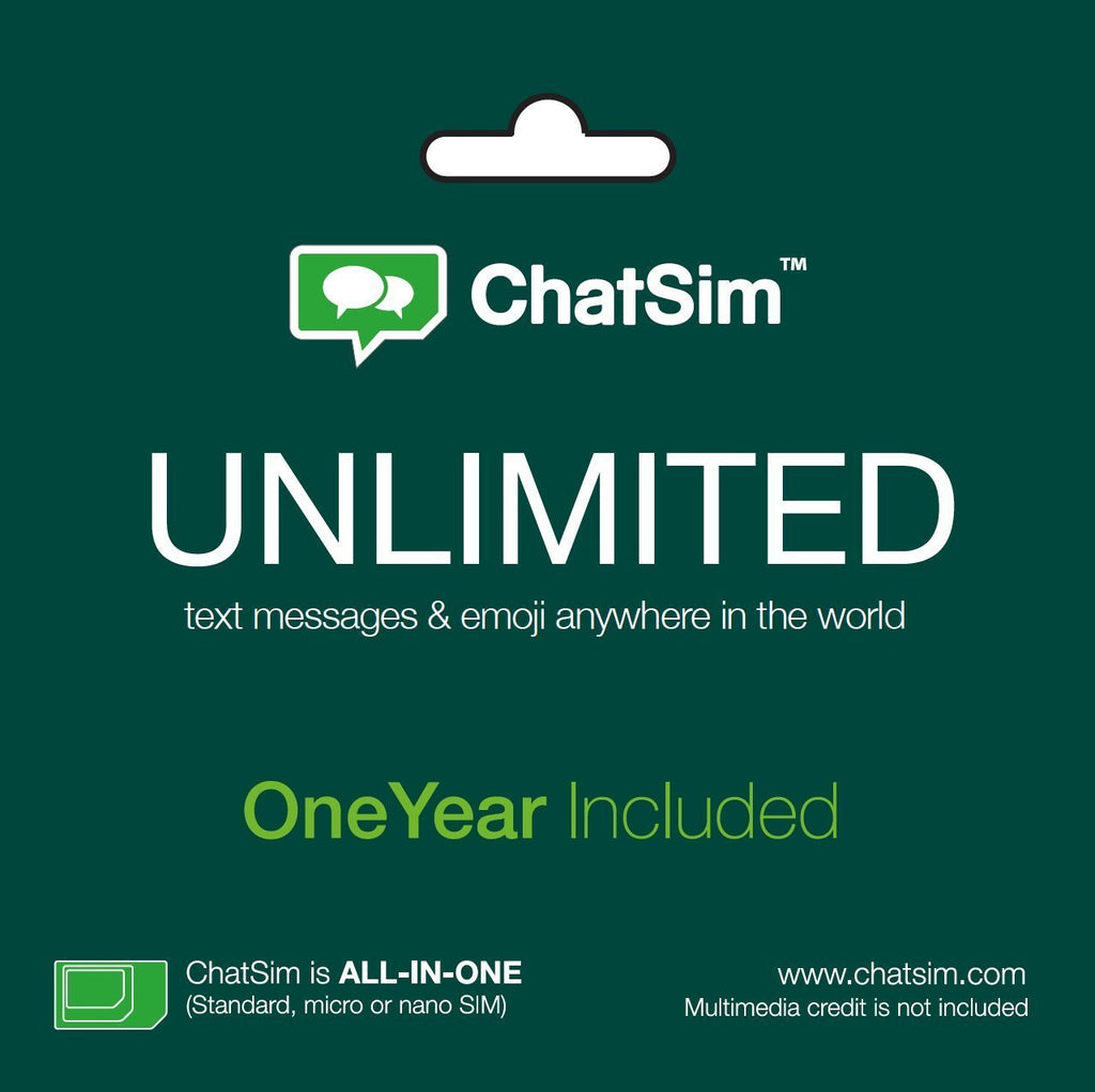 ChatSim Travel SIM card - Unlimited WhatsApp, Telegram and other ChatApps (One Year Usage Included)