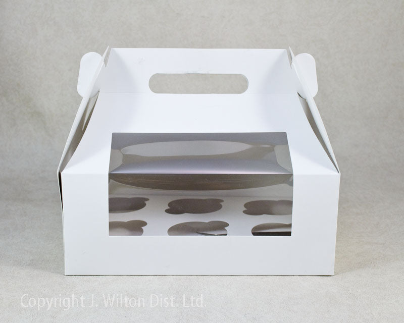 CUPCAKE BOX w/ HANDLE WHITE- HOLDS 6 STANDARD CUPCAKE