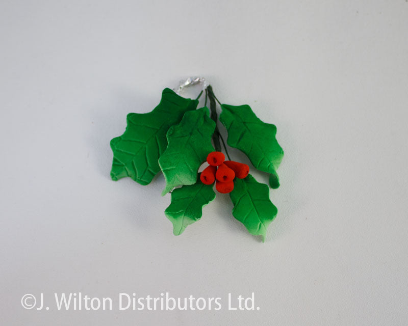HOLLY LEAVES W/ BERRIES 6PC GREEN