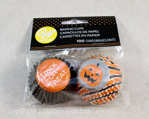 BAKING CUP MINI HALLOWEEN STRIPES & DOTS 100 COUNT