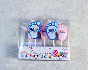 PARTY CANDLES SET BABY FEET BLUE/PINK