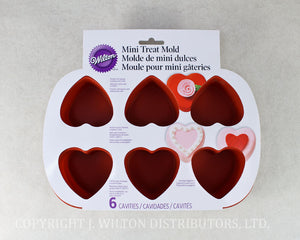 SILICONE MINI HEART PAN 6 CAVITY