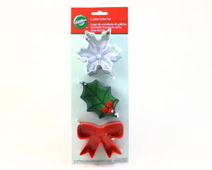 COOKIE CUTTER SET 3PC BOW/HOLLY/SNOWFLAKE