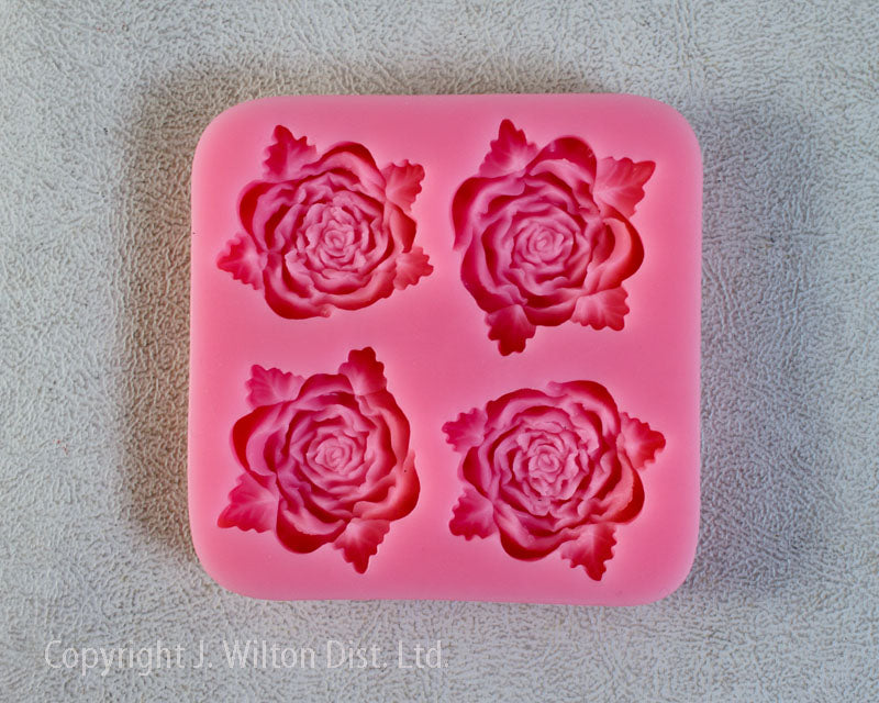 SILICONE MOLD ROSE w/ LEAVES