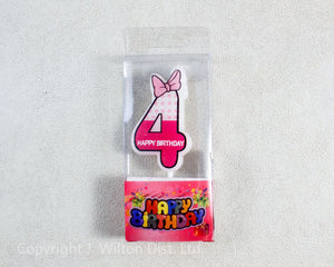 "NUMERAL CANDLE ""4"" PINK"