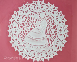 "SILICONE LACE MAT 16""x4"" BRIDE & GROOM 1PC."