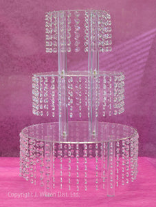 "CAKE STAND ROUND w/ BEADS 24"" TALL ACRYLIC"
