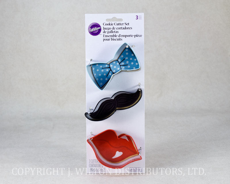 COOKIE CUTTER SET 3PC. BOW/LIPS/MUSTACHES