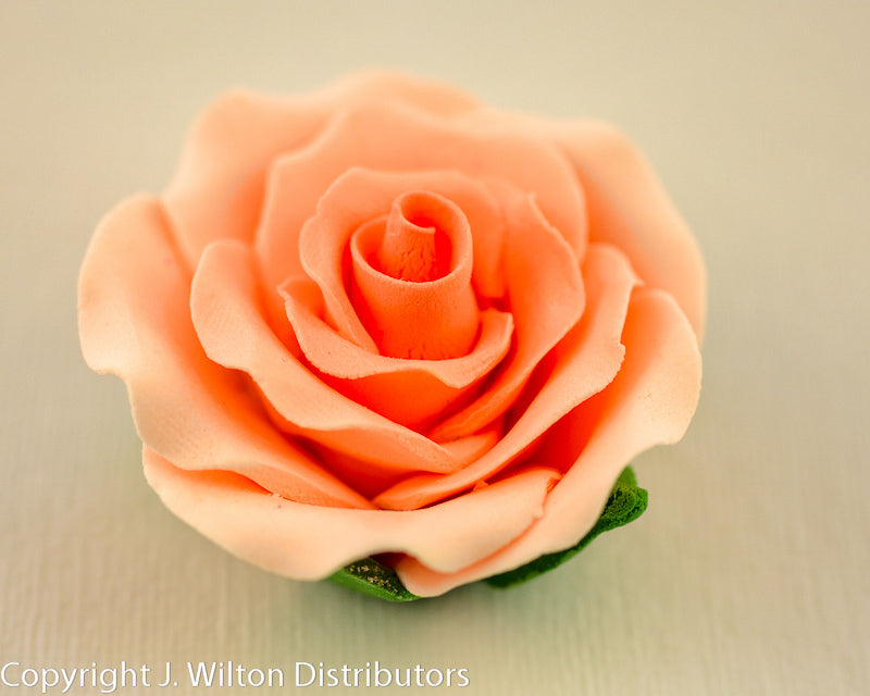 GUMPASTE ROSE LARGE 6PC PEACH