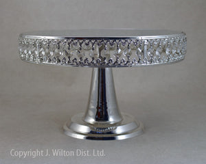 "CAKE STAND ROUND GLASS 12"" SILVER"