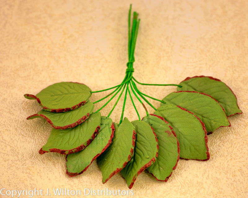 ROSE LEAF w/ WIRE MEDIUM 50PC. GREEN