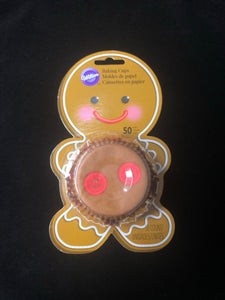 BAKING CUP STANDARD GINGERBREAD BOY 50pc. BLISTER PACK