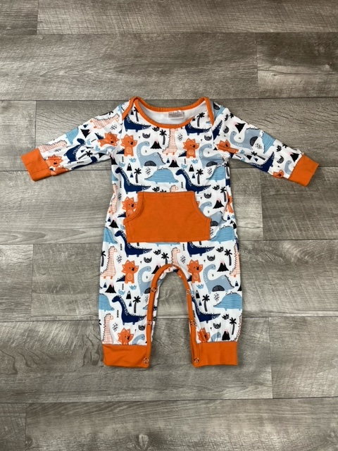 Blue & Orange Dino Romper