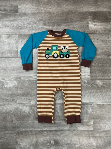 Brown Stripped Farm Friends Romper