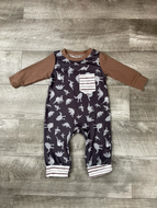 Brown Stripped Pocket Dino Romper