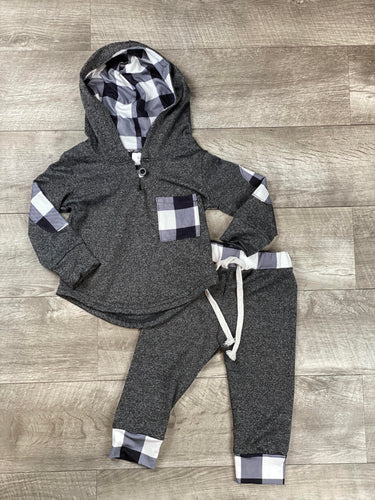 Black and White Buffalo Plaid Infant Jogger Set