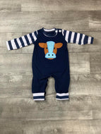 Blue Gingham Cow Head Romper