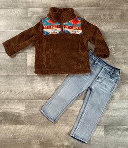 Brown Aztec Quarter Zip