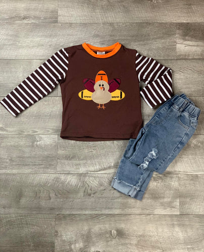 Brown Stripe Turkey Football Raglan