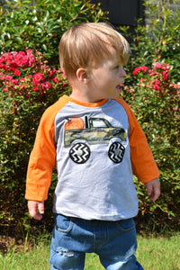 Camo Monster Truck Pumpkin Raglan