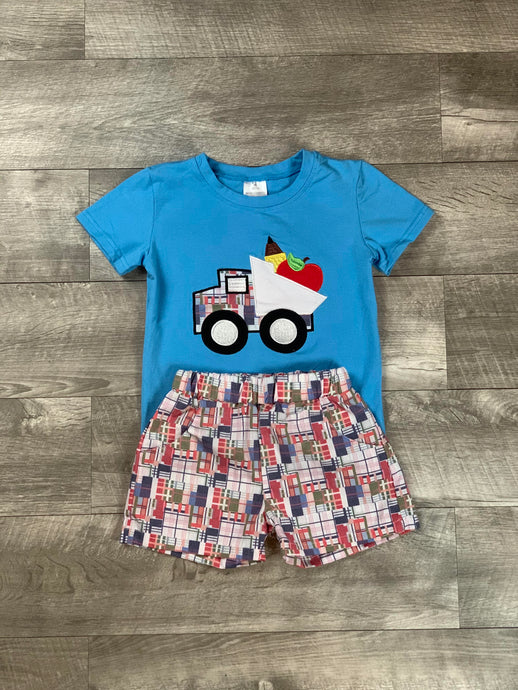 Dump Truck Back To School Short Set
