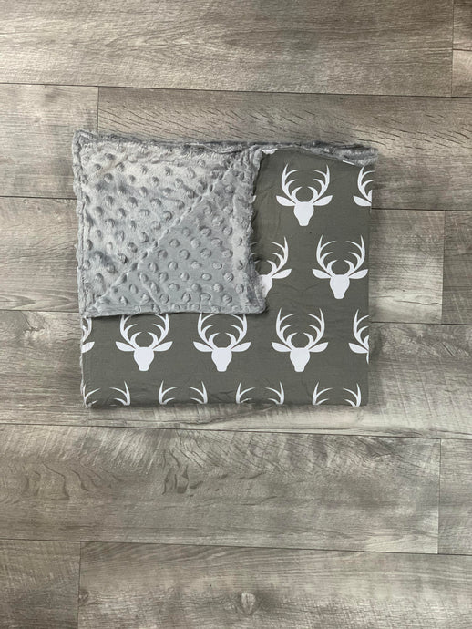 Gray Deer Head Blanket