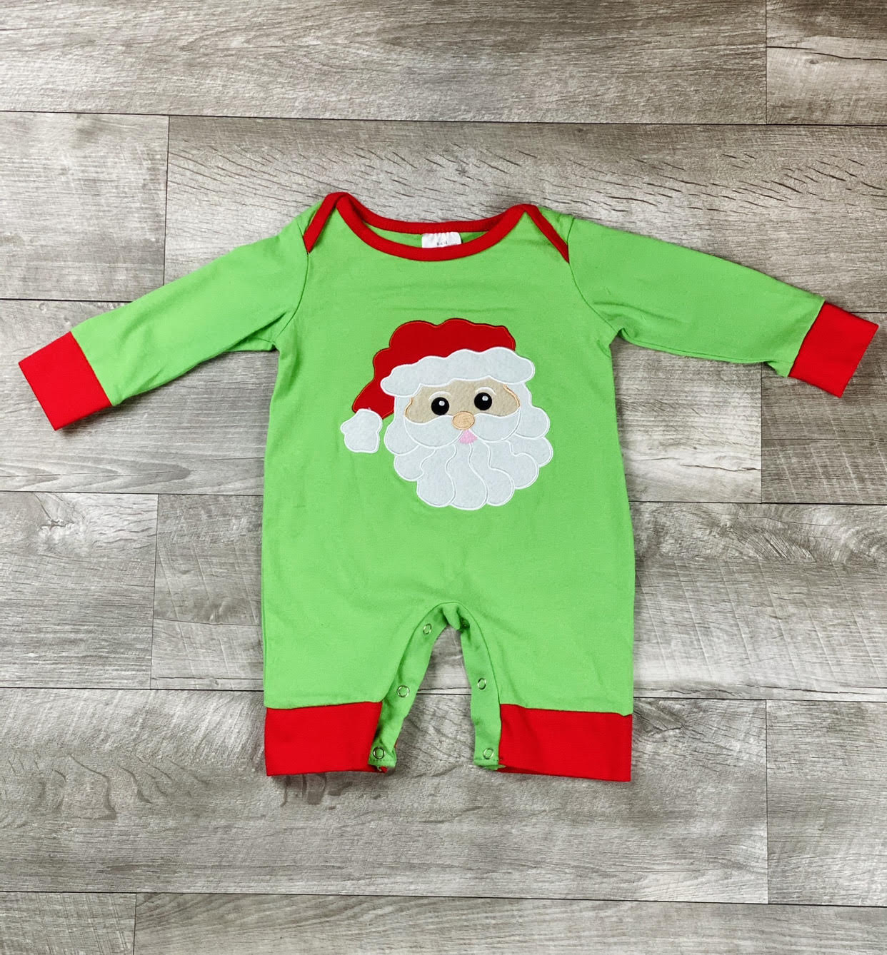 Green Holiday Santa Romper