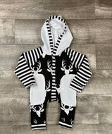 Black and White Hooded Deer Head Romper