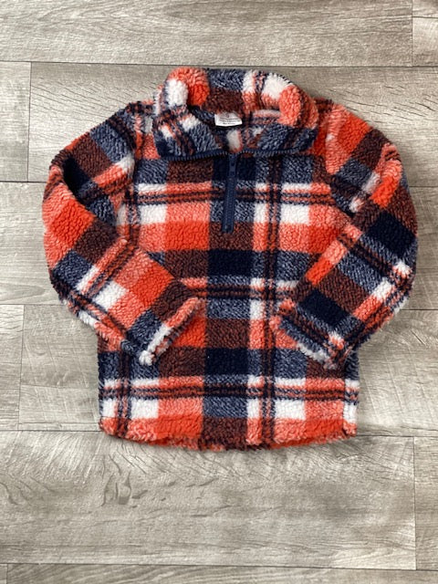 Navy & Orange Plaid Sherpa