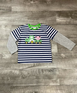 Navy Stripe Farm Friends Raglan