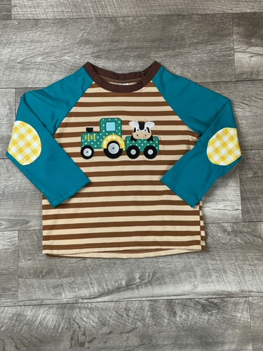 Brown Stripped Farm Friends Raglan