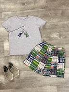 Plaid fish short set