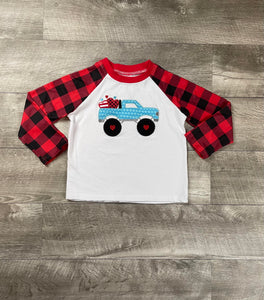 Buffalo Plaid Monster Truck Of Love Raglan