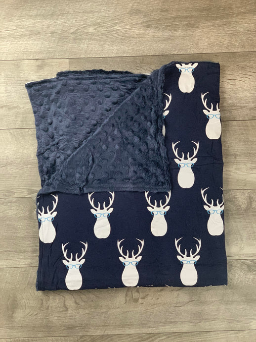 Navy Deer Head Glasses Blanket