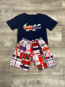 Plaid Alligator Short Set