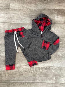 Red and Black Buffalo Plaid Infant Hooded Jogger Set