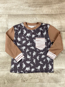 Striped Pocket Dino Raglan