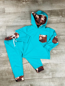 Teal Cow Print Hooded Jogger Set