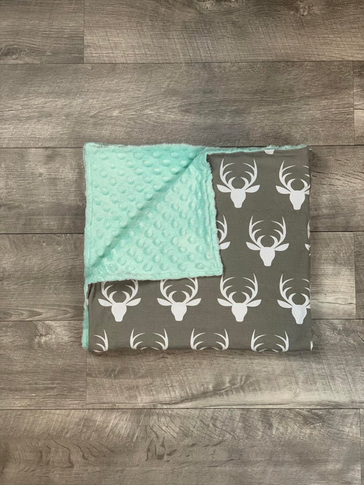 Teal Deer Head Blanket