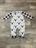 B&W Buffalo Plaid Deer Head Romper