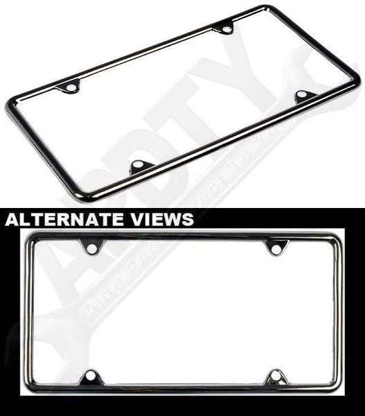 APDTY 79255 Universal Metal License Plate Trim Frame Chrome Finish