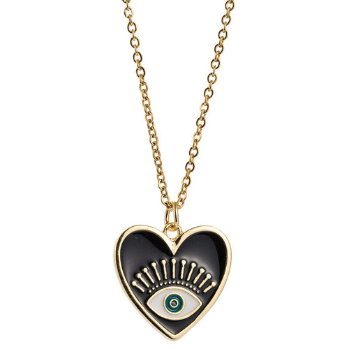 Black Heart Evil Eye Necklace (New) - Evileyes.net