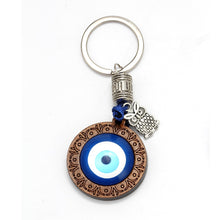 Load image into Gallery viewer, Evil Eye Keychain With Hamsa Hand, Owl, Elephant