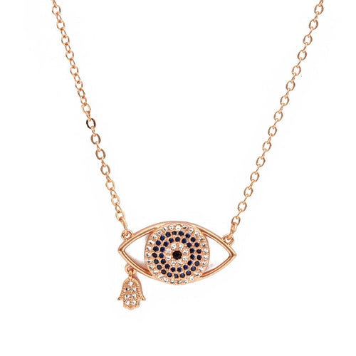 Fashionable Rose Gold Evil Eye Necklace