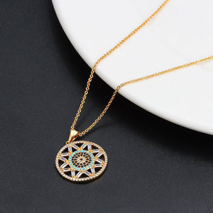 Round Hollow Turkish Evil Eye Necklace - Evileyes.net