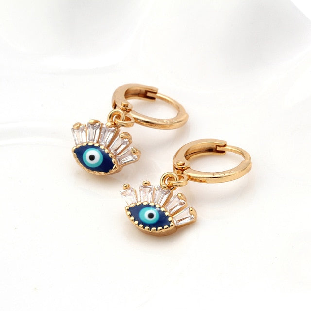 Gold Evil Eye Earrings Featuring The Evil Eye and Zircon