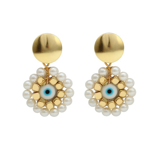 Turkish Evil Eye Earrings With Pearls - Evileyes.net